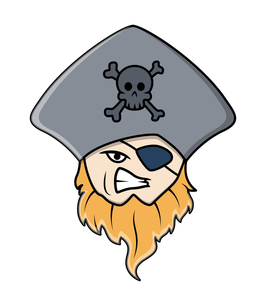 Pirate Captain With Eye Patch - Vector Cartoon Illustration