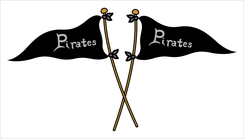 Pirate Crossed Flags - Vector Illustration