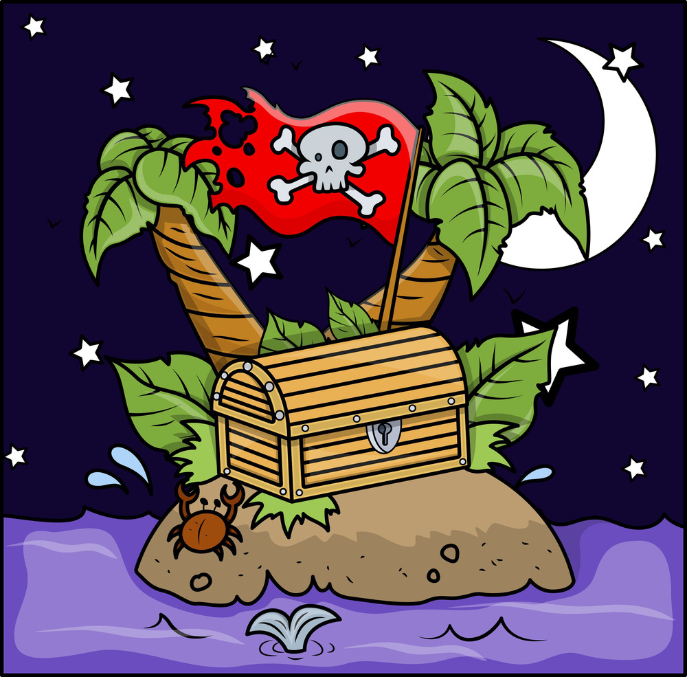 Pirate Island - Vector Cartoon Illustration