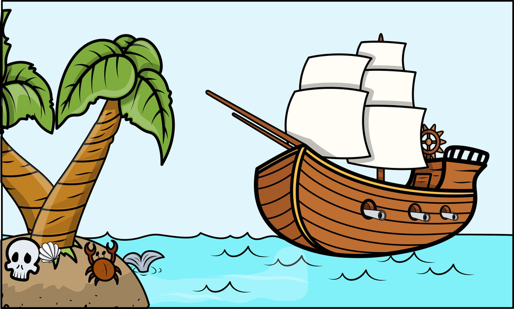 Pirate Ship And Tropical Island - Vector Cartoon ...