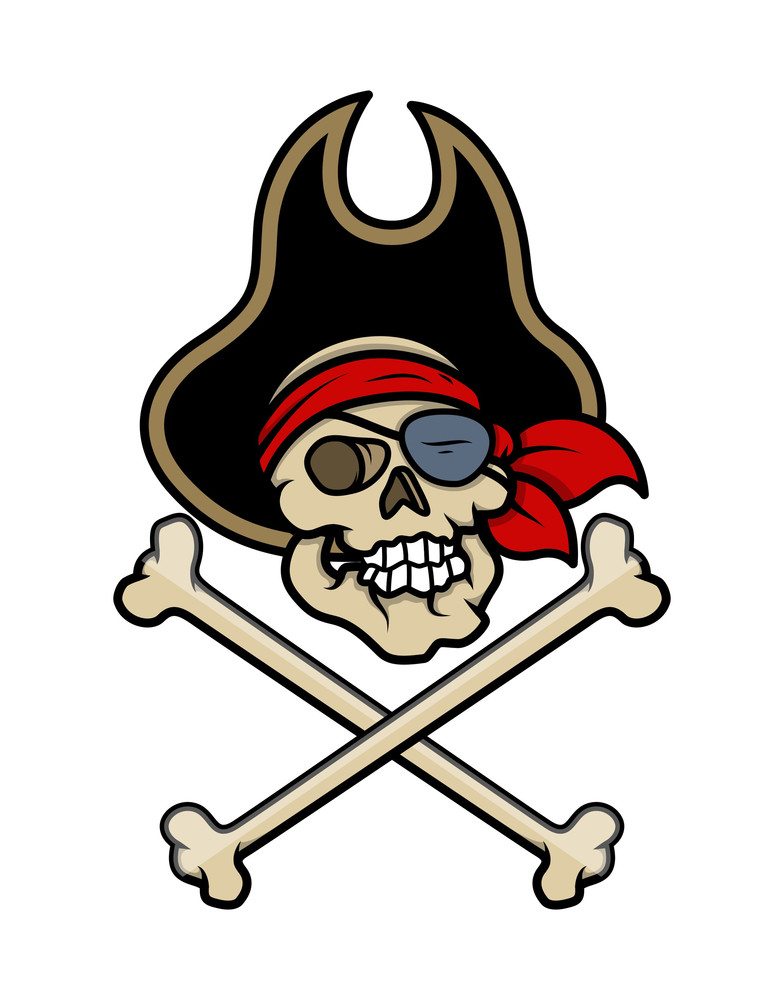 Pirate Skull Tattoo - Vector Cartoon Illustration