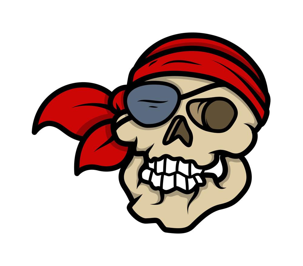 Pirate Skull - Vector Cartoon Illustration