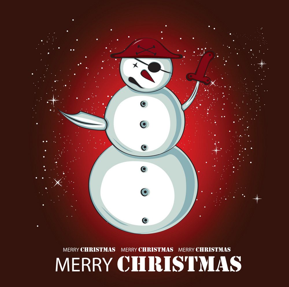 Pirate Snow Man Greeting Card Vector