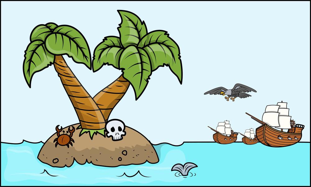Pirates Coming To Treasure Island - Vector Cartoon Illustration