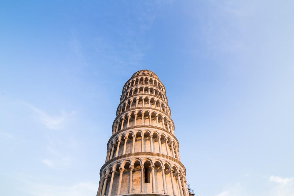 Pisa tower with blue sky. Pisa, Italy