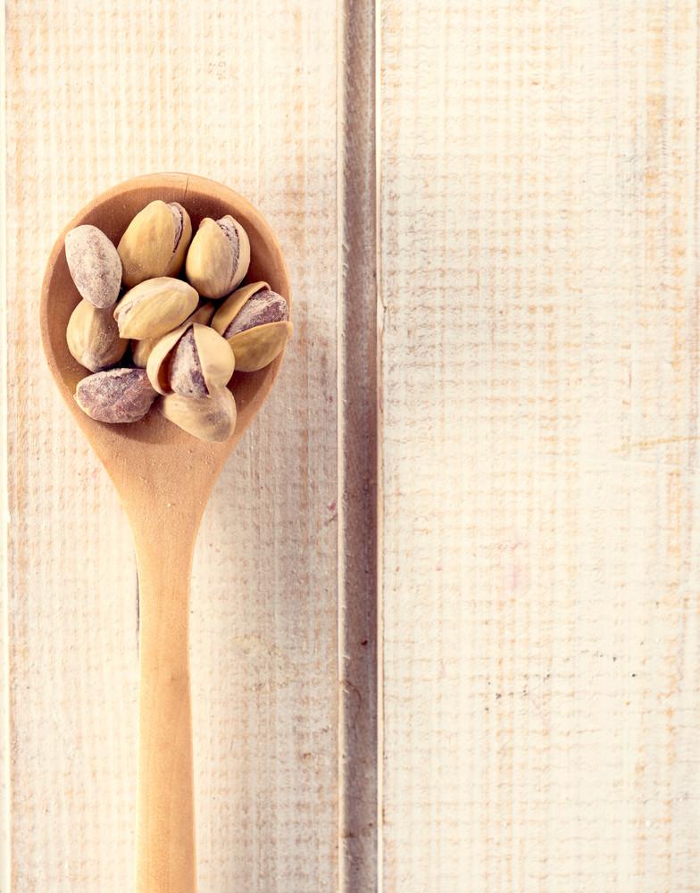 Pistchio In Wooden Spoon