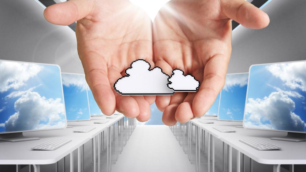 Pixel Cloud Network Icon Computer