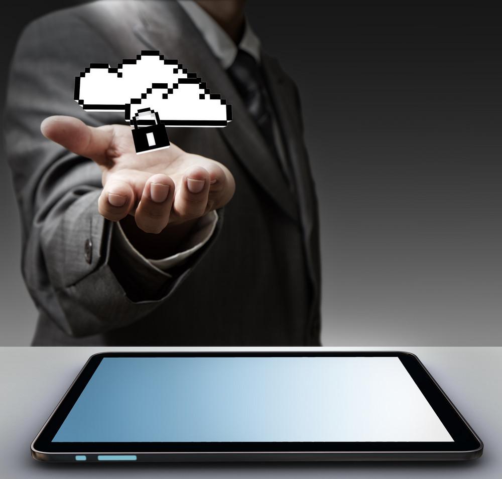 Pixel Cloud Network Sign As Concept