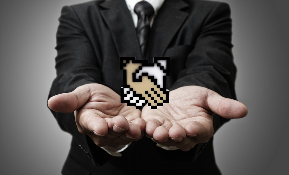Pixel Handshake Icon Sign
