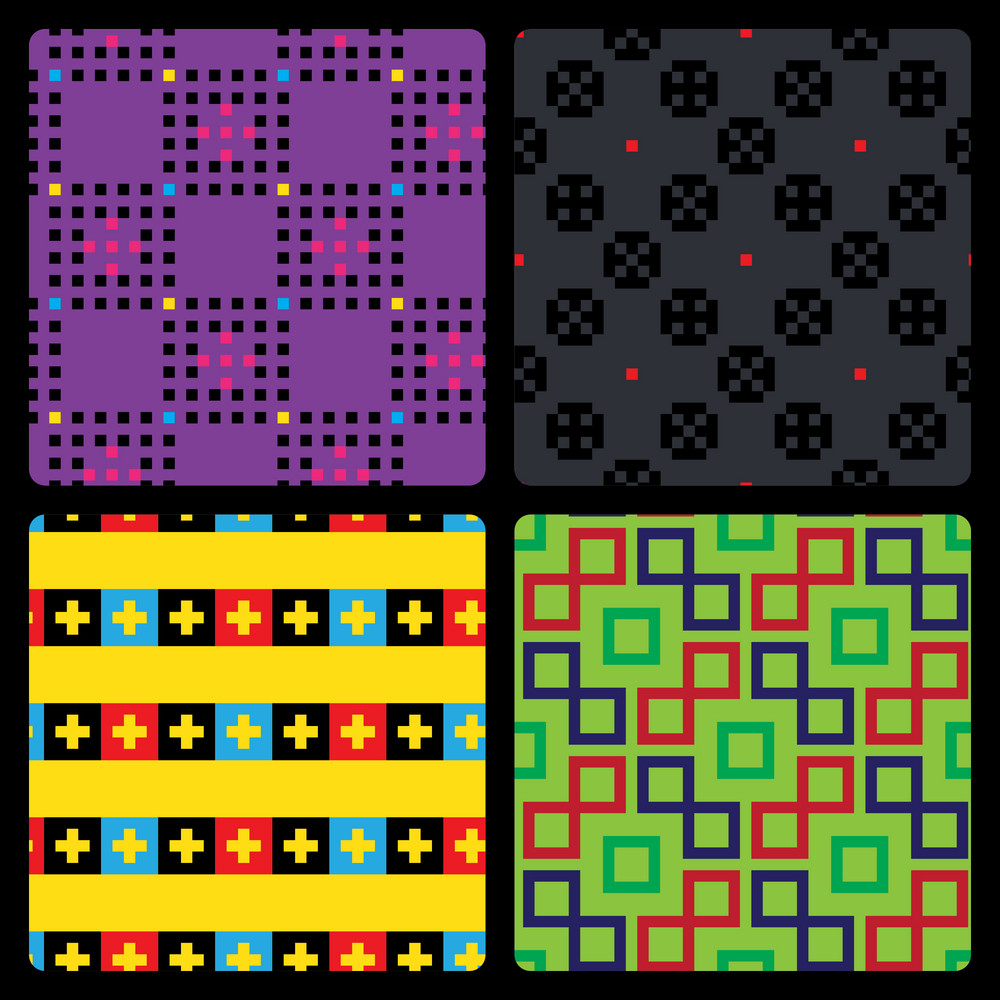 Set Of 4 Pixel Patterns
