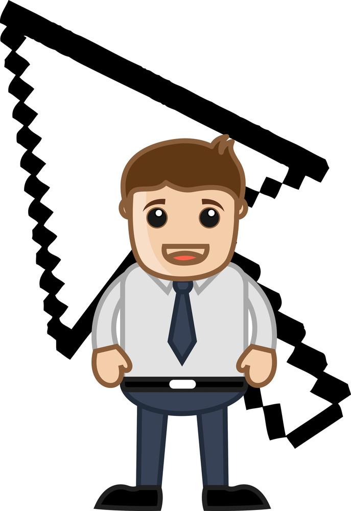 Pixel Screen Arrow Behind A Cartoon Office Man