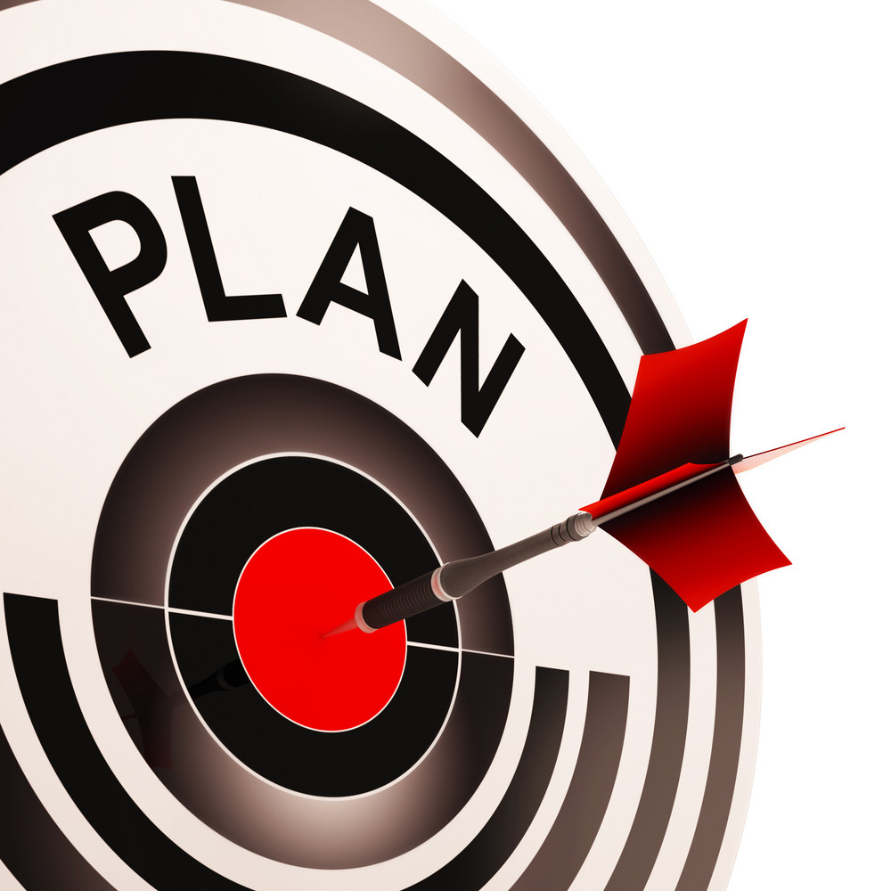 Plan Target Shows Planning, Missions And Goals