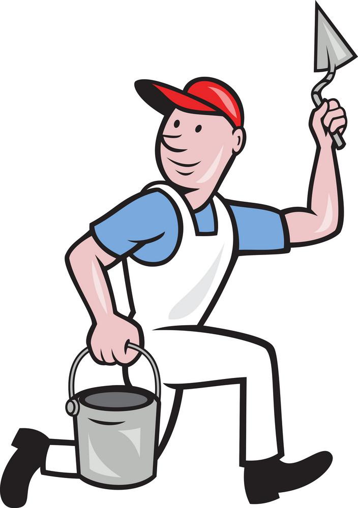 Plaster Masonry Worker Cartoon