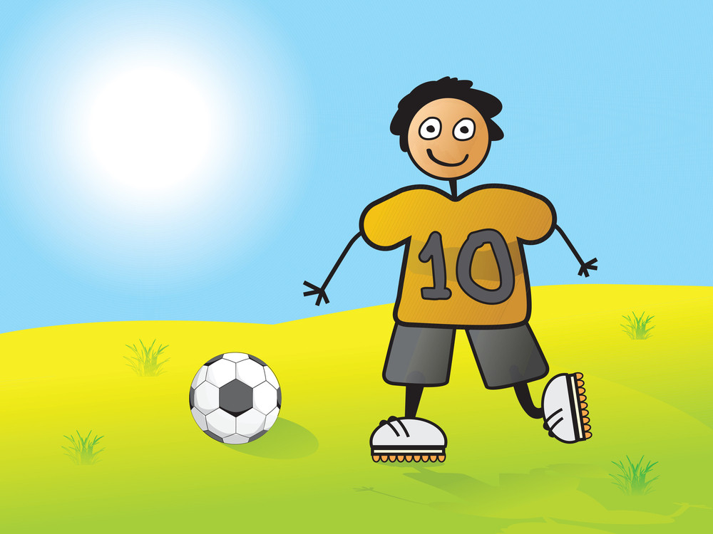 Player No 10 Passing Football To His Team