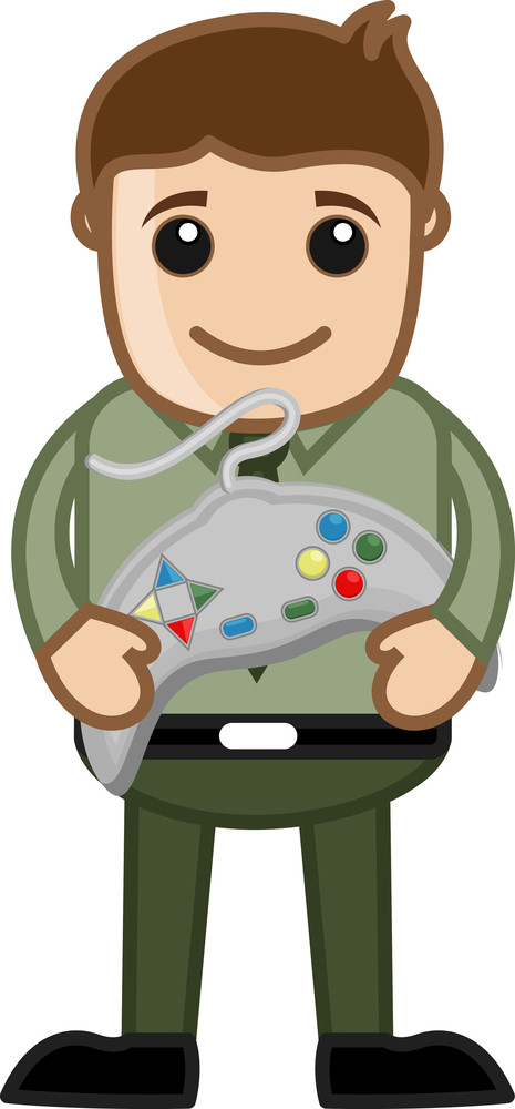 Playing Video Game Concept - Office Character - Vector Illustration