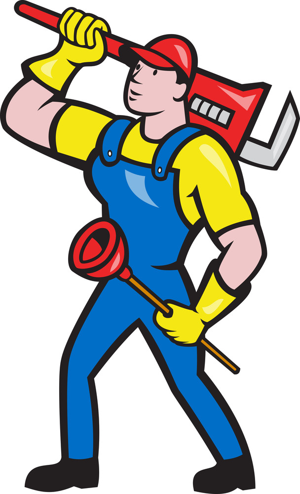 Plumber Carrying Wrench Plunger Cartoon