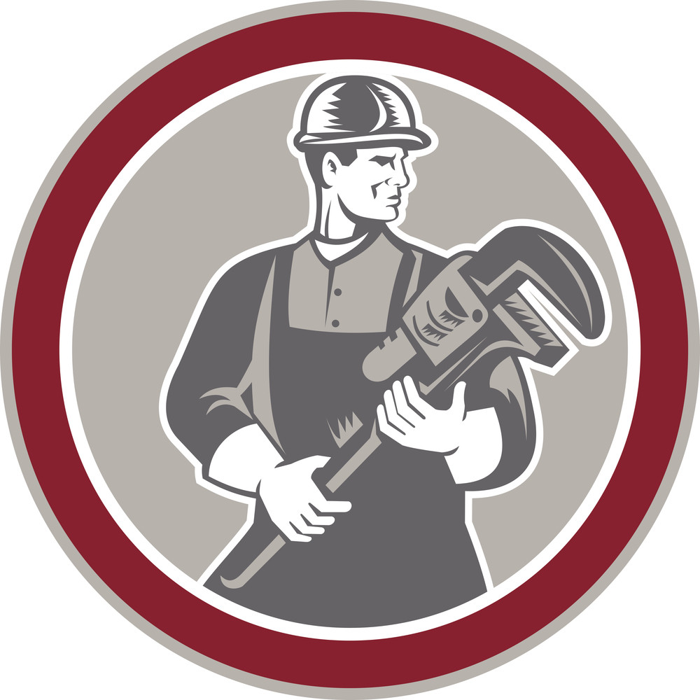 Plumber Holding Giant Wrench Woodcut Circle