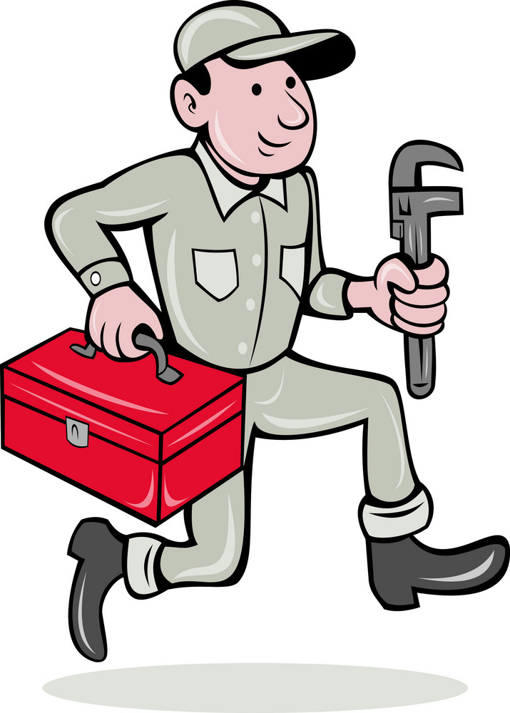 Plumber With Monkey Wrench And Toolbox