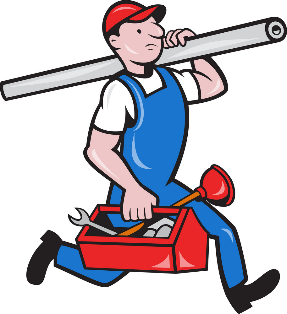 Plumber With Pipe Toolbox Cartoon