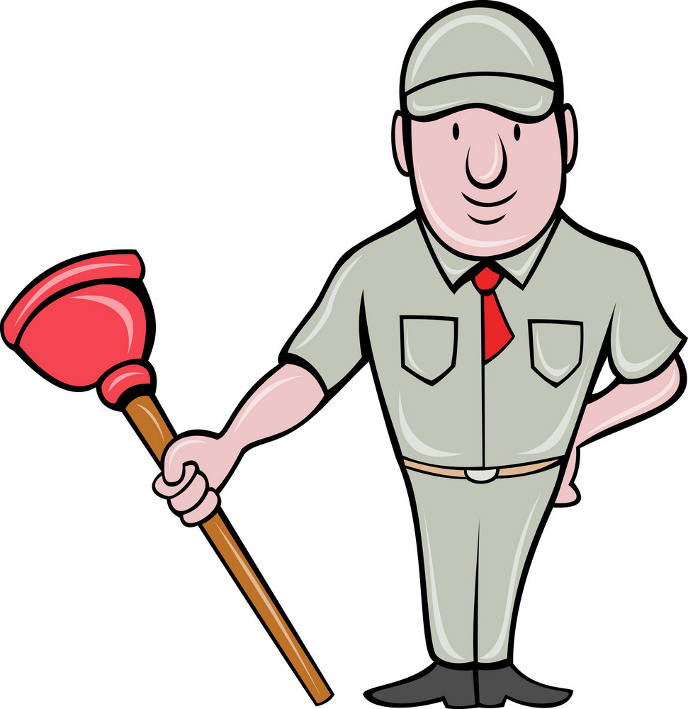 Plumber With Plunger Standing