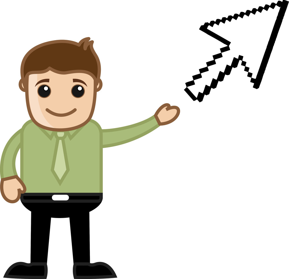 Pointing An Pixel Arrow - Vector Character Illustration