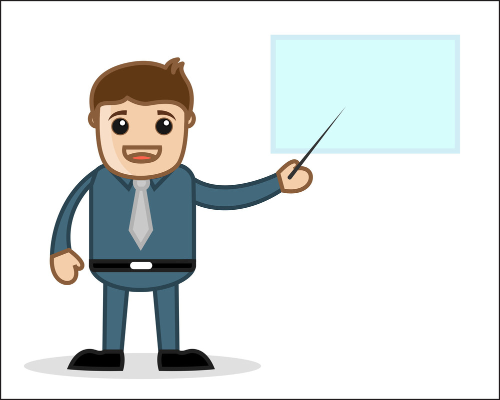 Pointing On Presentation - Office And Business People Cartoon Character Vector Illustration Concept