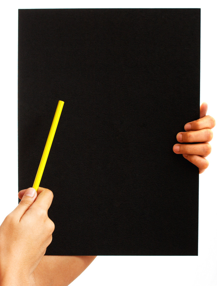 Pointing To A Blank Blackboard