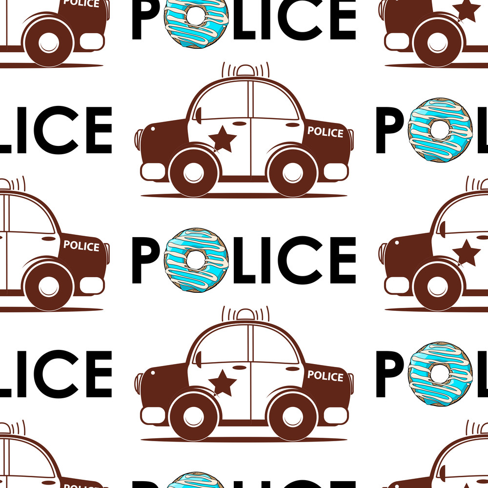police car seamless pattern vector illustration royalty free stock