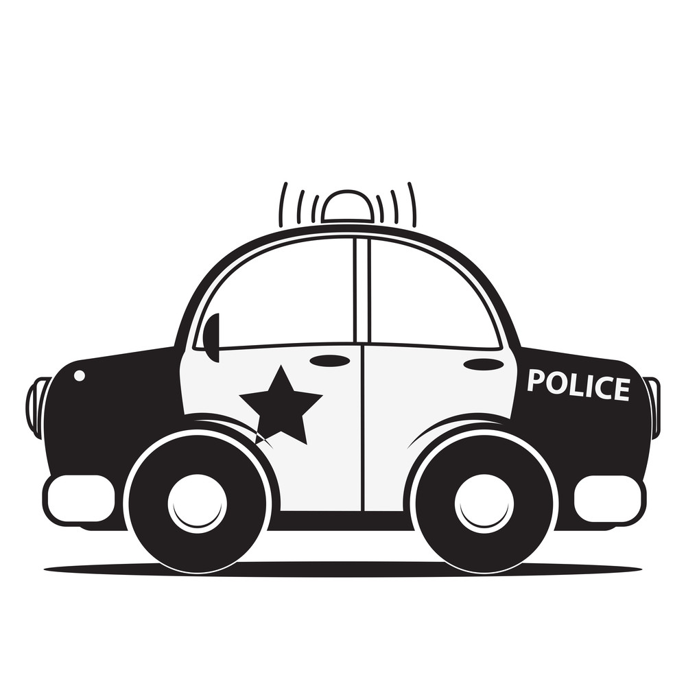 police car silhouette  vector illustration royalty