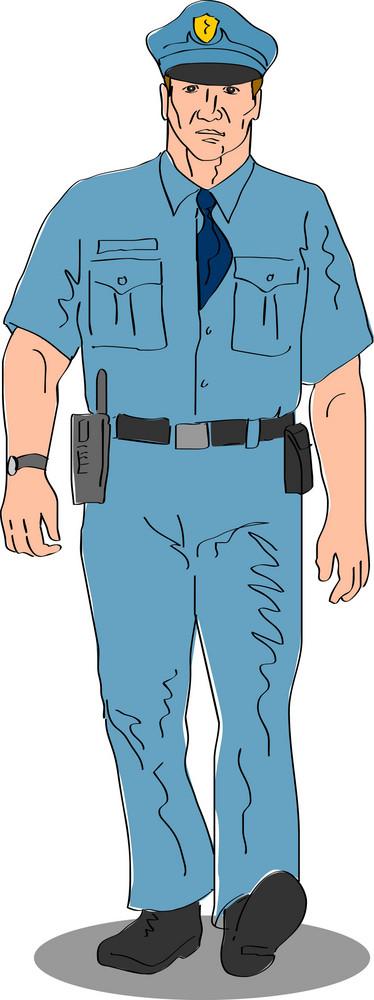 Policeman Police Officer Walking