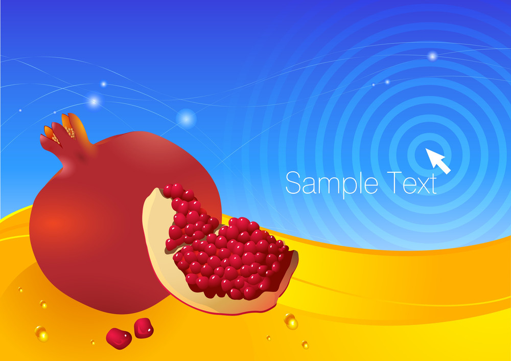 Pomegranates Fresh Vector Background.