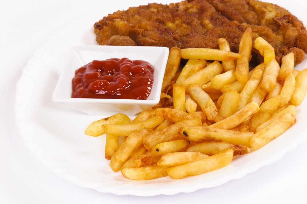 French Fries And Fried Meat