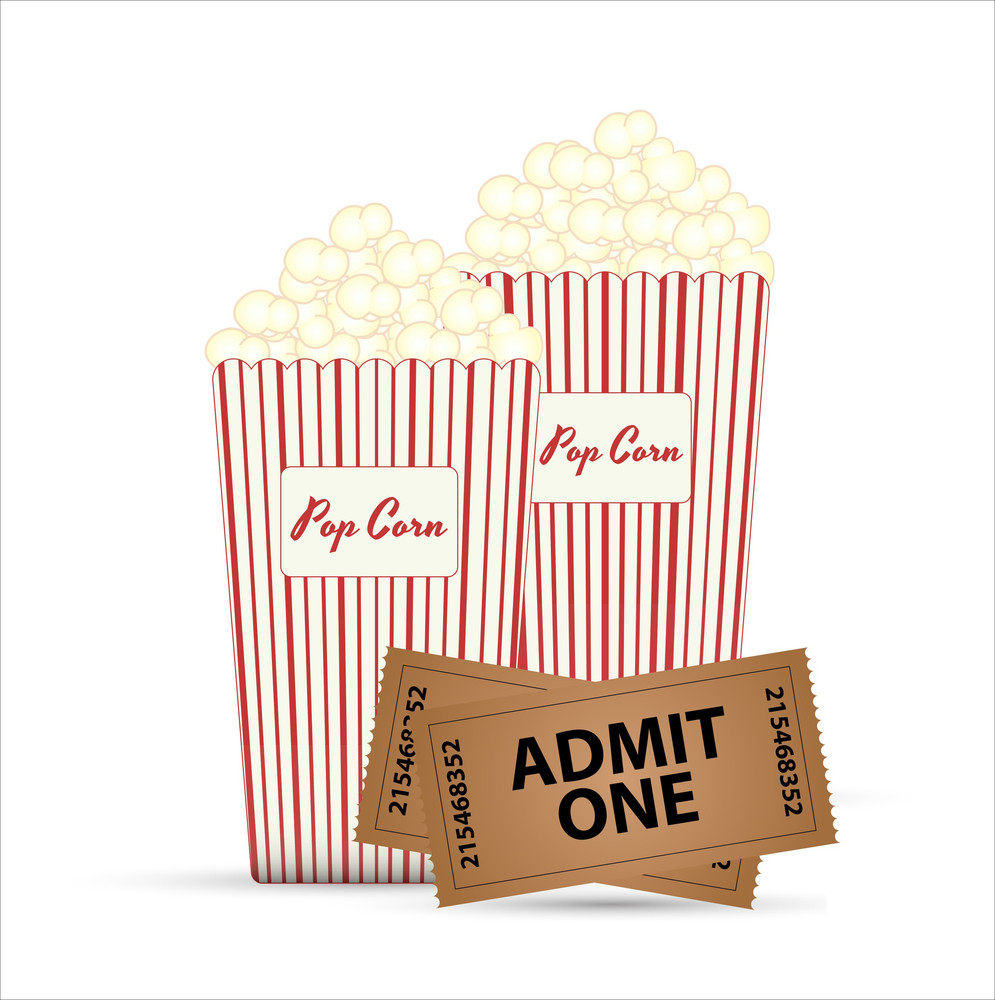 Popcorn And Tickets Vector Designs