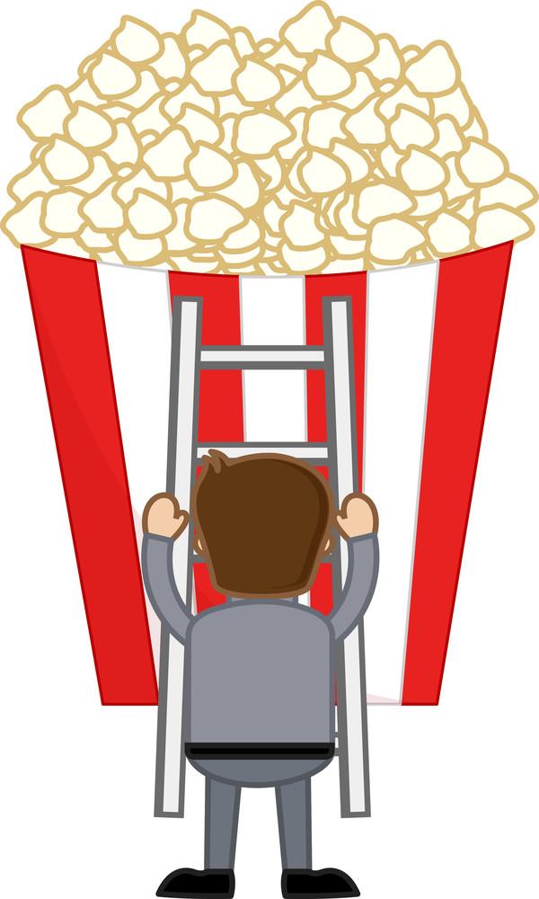 Popcorn - Cartoon Business Vector Character