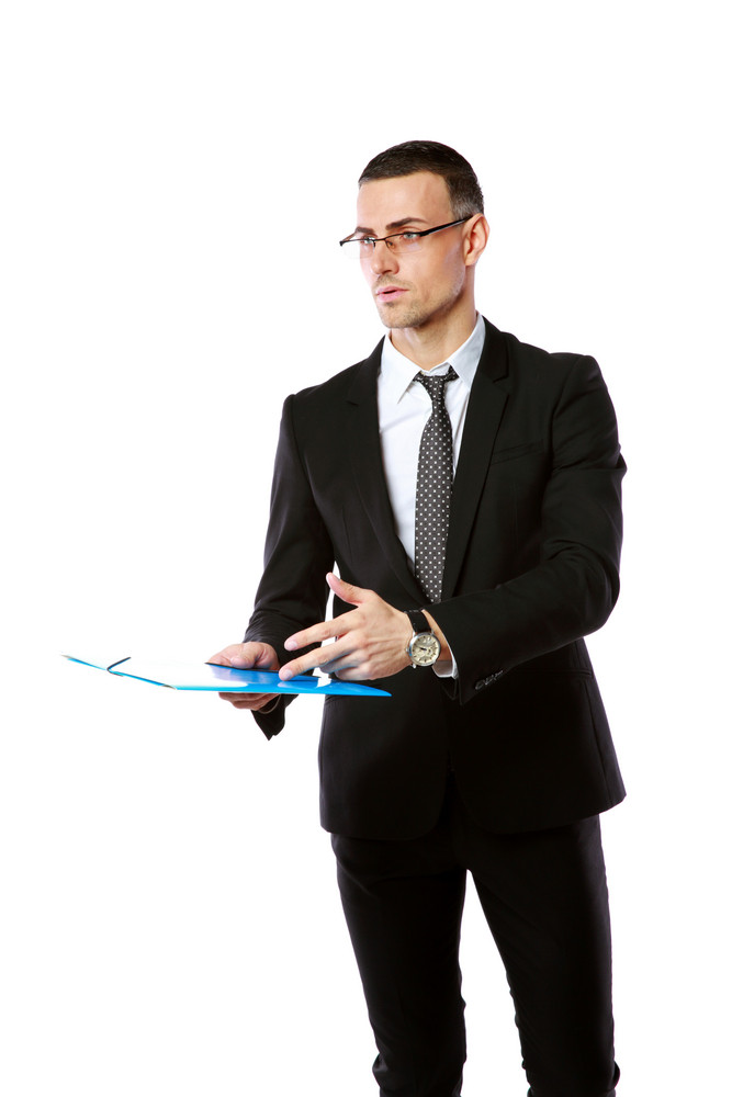 Portrait of a confident businessman with folder isolated on a white background