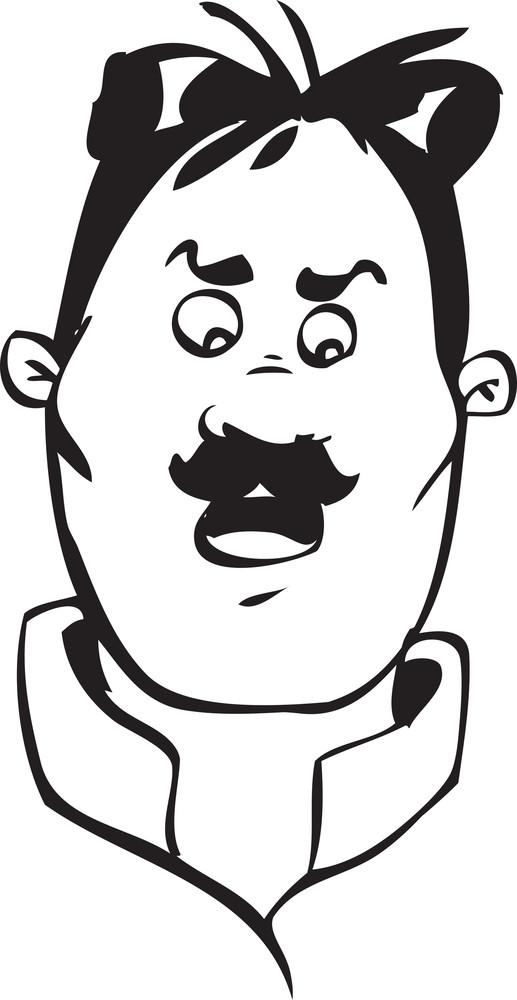 Portrait Of A Fearful Face Of A Cartoon.