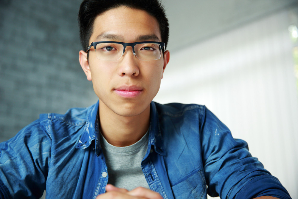 Portrait of a handsome asian man