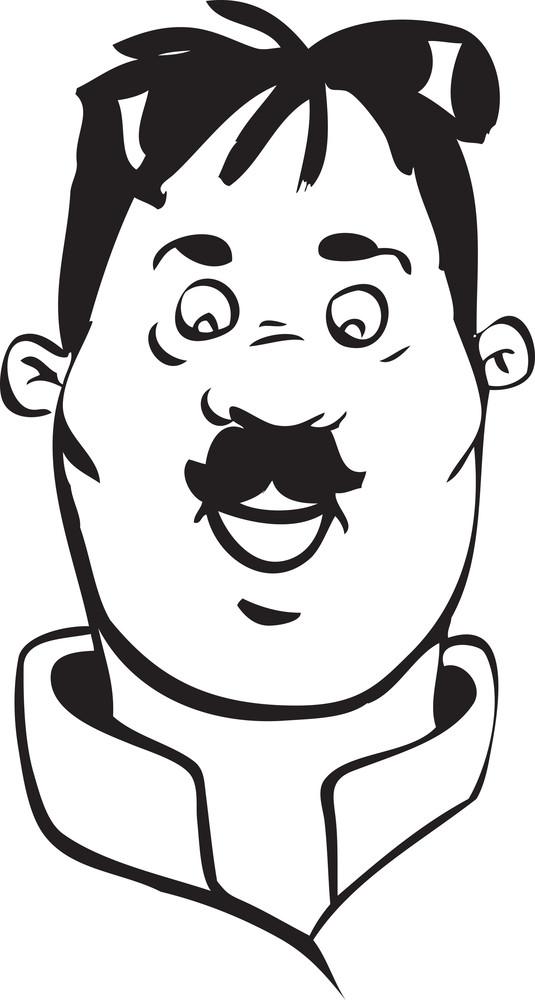 Portrait Of A Happy Cartoon's Face.
