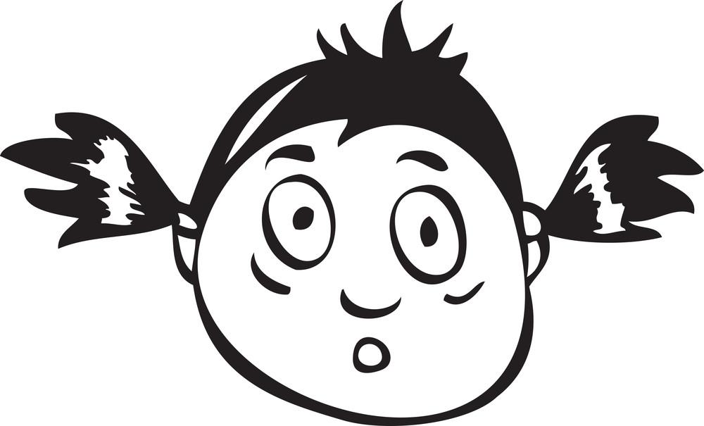Portrait Of A Shocked Cartoon Face.