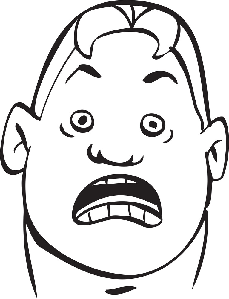 Portrait Of A Shocked Expression Of A Cartoon.
