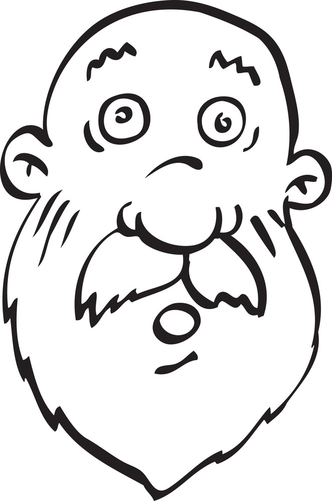 Portrait Of A Shocked Old Cartoon Face.