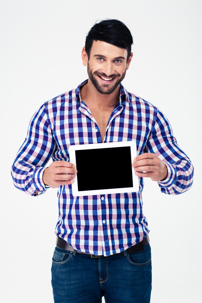 Portrait of a smiling man showing tablet computer screen