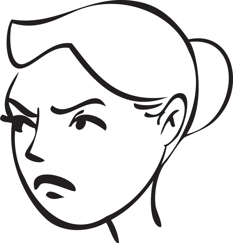 Portrait Of An Angry Girl Cartoon.
