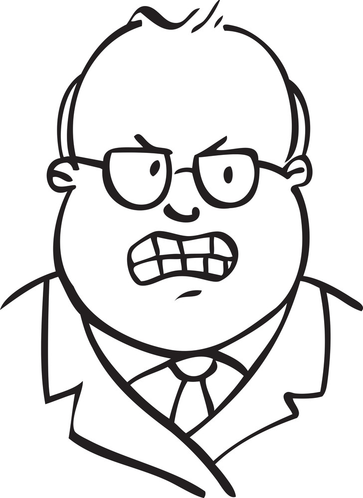 Portrait Of An Angry Old Man With Spectacles.