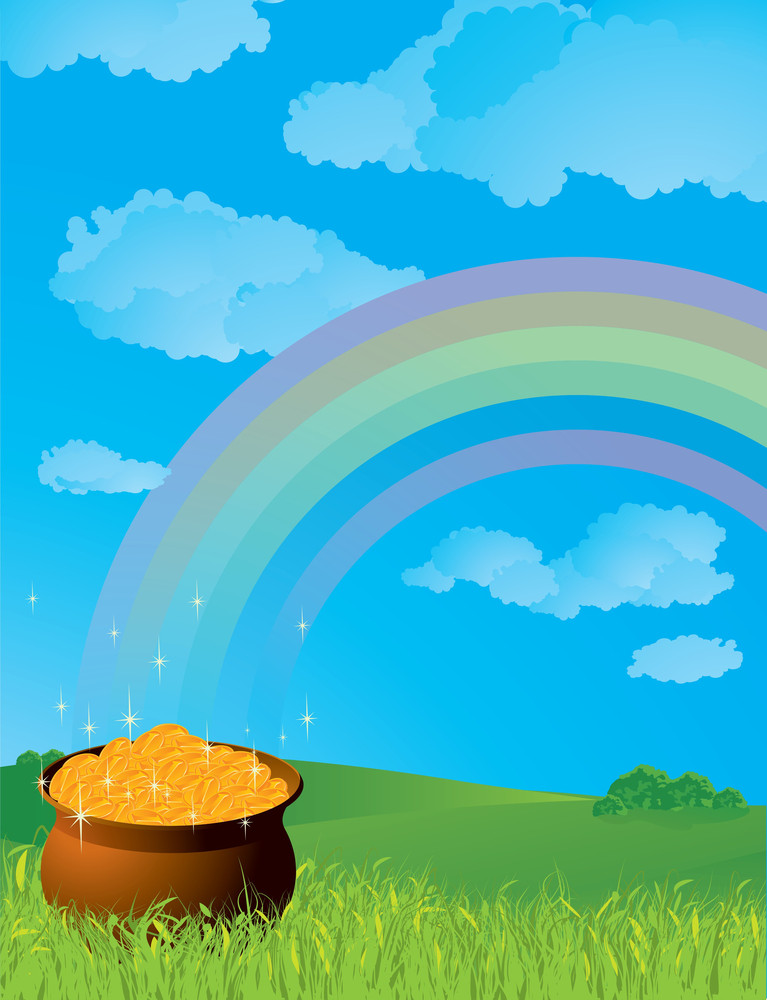 Pot Of Gold. Vector.