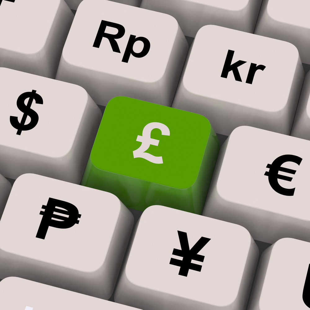 Pound And Currencies Computer Keys Show Money Exchange
