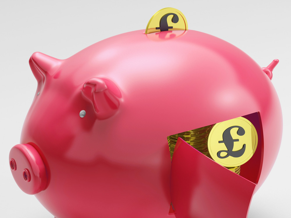Pound In Piggy Shows Currency And Investment