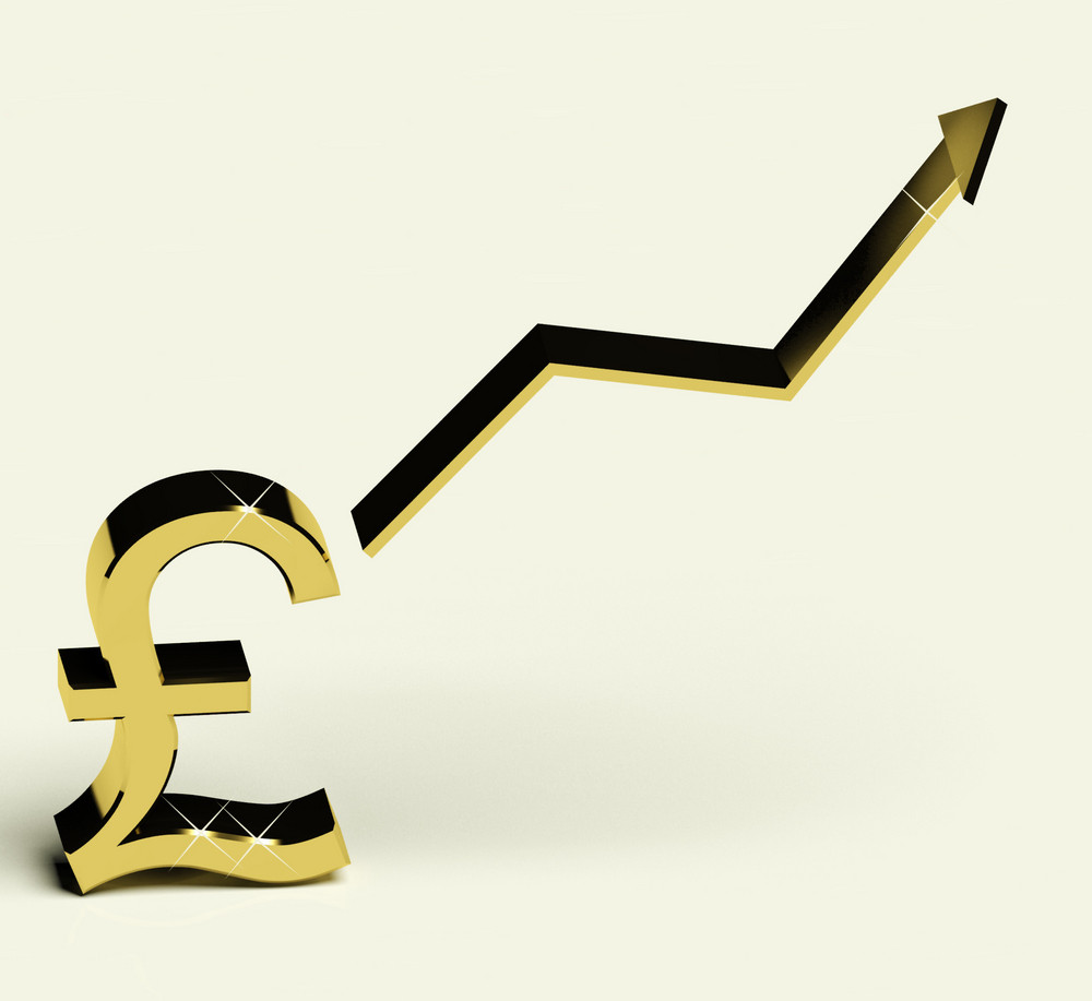 Pound Sign And Up Arrow As Symbol For Earnings Or Profit