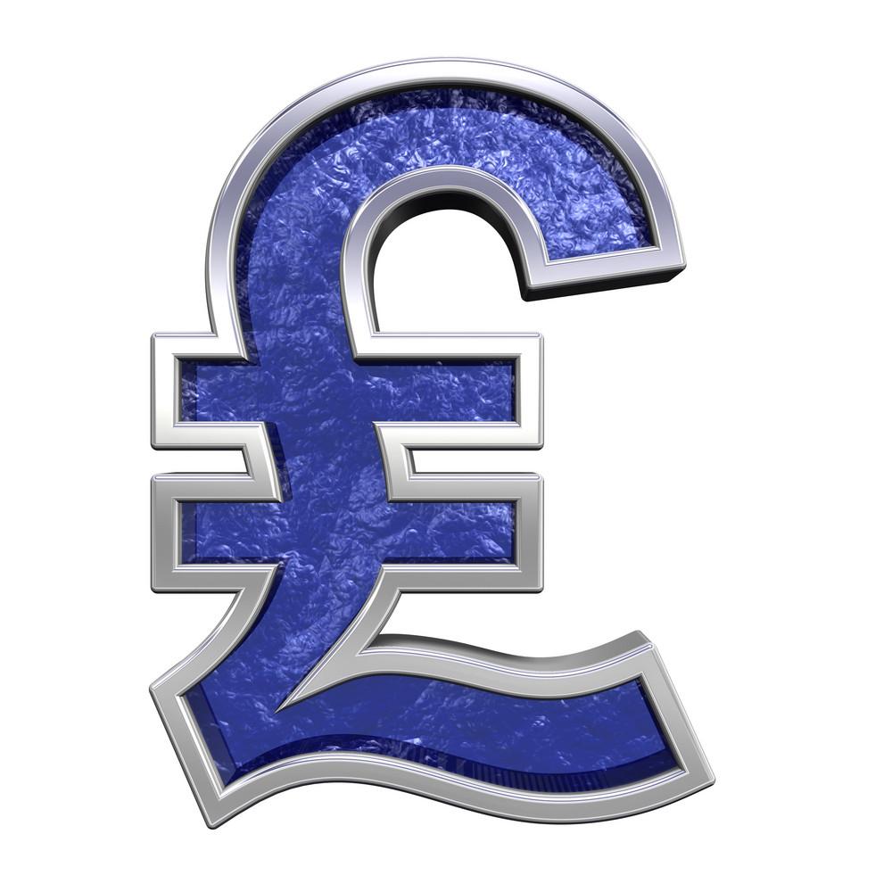 Pound Sign From Blue Glass Cast Alphabet Set