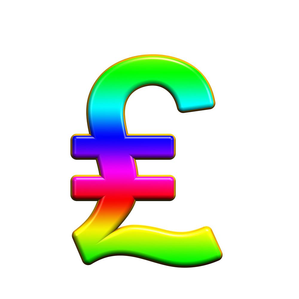 Pound Sign From Rainbow Alphabet Set, Isolated On White